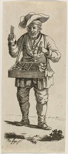 Pieter de Goeje   Marskramer, Pieter de Goeje, 1789 - 1859   Een marskramer met een grote hoed verkoopt allerlei snuisterijen uit een mars, onder andere kammetjes en spiegeltjes.