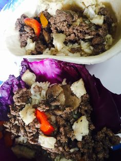 Organic Beef and Rice boats w/ mushrooms, sweet peppers, and smoked pepper cheese