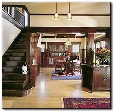 What to Look for when designing your arts and crafts interior.  Kitchen cabinets will be this dark color...wood floors are light.