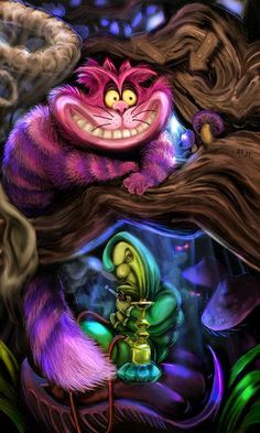 Alice in Wonderland - Cheshire cat, colorful and whimsical art Disney Love, Disney Art, Princesas Disney Dark, Chesire Cat, Cheshire Cat Disney, Images Disney, Alice Madness, Were All Mad Here, Adventures In Wonderland