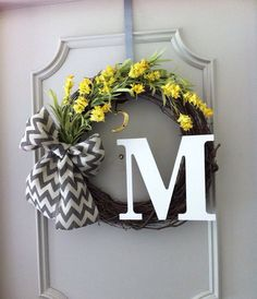 Chic & Bright Personalized Monogram Grapevine Wreath with Yellow Flowers and a Chevron Burlap Bow on Etsy.