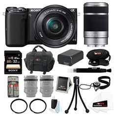 Sony Alpha NEX-5T NEX-5TL/B Camera with 16-50mm Lens Bundle + Sony SEL55210 55-210mm F4.5-6.3 Telephoto Lens + Sony 32GB SD Card + Sony Large Case + Additonal Battery for NP-FW50 + Tiffen 40.5mm and 49mm UV Protector Filters + Accessory Kit - http://www.bestdigitalcamera.org/sony-alpha-nex-5t-nex-5tlb-camera-with-16-50mm-lens-bundle-sony-sel55210-55-210mm-f4-5-6-3-telephoto-lens-sony-32gb-sd-card-sony-large-case-additonal-battery-for-np-fw50-tiffen-40-5mm-and-4/  Check out  h
