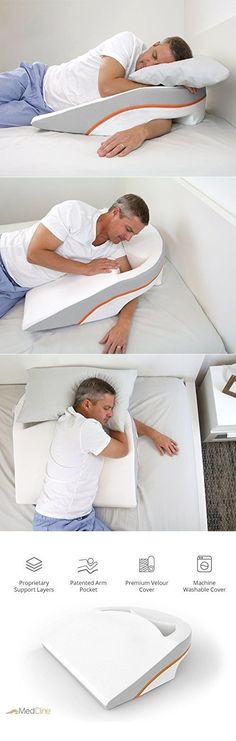 Avoid tossing and turning while you slumber by placing your body in the ideal position using this side sleep wedge pillow. Made with four types of foam, the design allows you to sleep comfortably on…MoreMore >>> Visit the image link for more details. #SleepRemediesTips