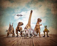 Dinosaurs on the Run on Vintage Sky, Photo Print , Boys Room Decor, Dinosaur Art, Dinosaur photos, Dinosaur Prints