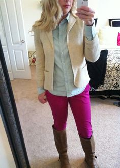 Blazer. Chambray. Colored pants. Mommy Mirror Diaries