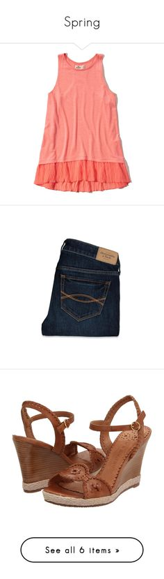 """""""Spring"""" by meredith-gomes on Polyvore featuring shirts, tops, jeans, pants, bottoms, trousers, faded blue jeans, faded jeans, blue jeans and frayed jeans"""