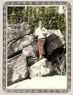 colorized photo of Bonnie on the rocks