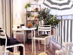 Simple black and white balcony.