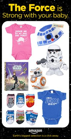May the force be with you. Check out the coolest Star Wars baby gear on Amazon. Show off your young Jedi or read an epic galactic tale.