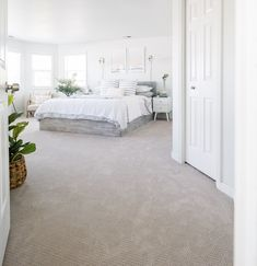 Master Bedroom Transformation with LifeProof Carpet Beige Carpet Bedroom, Bedroom Carpet Colors, Gray Carpet, Carpet In Bedrooms, Upstairs Bedroom, Home Bedroom, Master Bedroom, Home Carpet, Wall Carpet