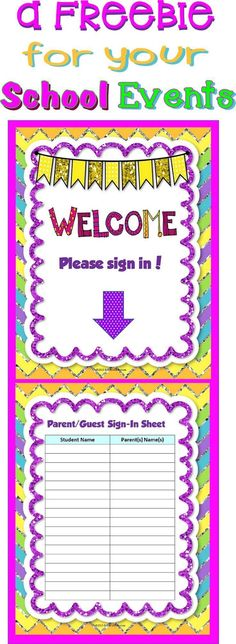 Meet The Teacher Sign In Sheet For Parents  Back To School