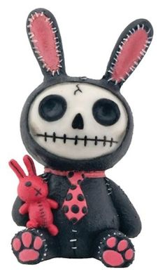 NEW Furrybones Furry Bones Black Bun Bun Bunny Skull Skeleton Figurine Gift 7845 Dead Bunny, Skeleton Face, Black Bunny, Creepy Dolls, Creepy Cute, Cute Bunny, Bunny Rabbit, Collectible Figurines, Bones