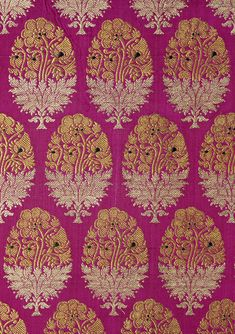 Length of Textiles, woven silk with gold and silver-wrapped thread. Varanasi, c1880 (V & A Pattern - Indian Florals)