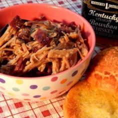 Bourbon Bacon Pulled Pork [i'll brown the loin before slow cooking it] Slow Cooked Meals, Slow Cooker Pork, Crock Pot Cooking, Slow Cooker Recipes, Crockpot Recipes, Cooking Recipes, Yummy Recipes, Pork Brisket, Pulled Pork Recipes