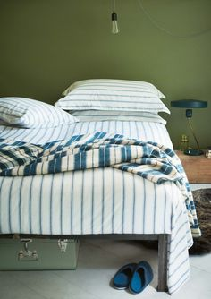 sleep here • indigo stripe blanket • toast