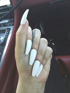 White Squoval Acrylic Nails