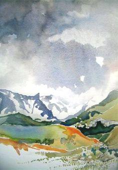 Landscape Art, Landscape Paintings, Landscapes, Mountain Paintings, Lorraine, Artist Art, Art Boards, Watercolors, Art Work