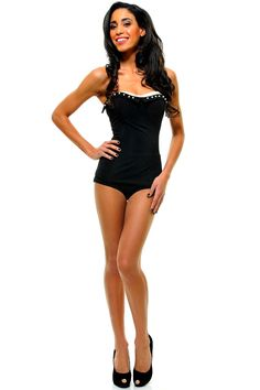Vintage Inspired Black Bathing Beauty Swimsuit With Pearl Accents - Lounge by the pool in style with this amazing 1950's inspired lounging suit! This 2 piece ensemble has a strapless neckline with pearl accents and ivory shelf bra complete with soft cups and boning for support. Pair with some great sunglasses and a cocktail you are ready for a beautiful summer day by the pool!