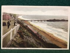 Antique Coloured Postcard - Pier From West Cliff, Bournemouth