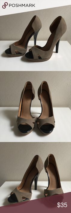 """L.A.M.B. Leather Stiletto Heels Taupe Beige Size 7 Gorgeous, sleek leather heels from Gwen Stefani's L.A.M.B. fashion line in a versatile taupe/beige color with a piano black stiletto 3"""" heel. L.A.M.B. Shoes Heels"""