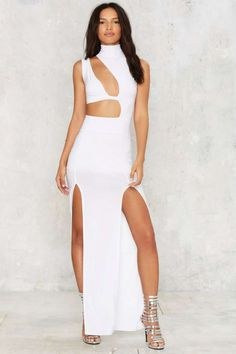 Cut Out Above the Rest Maxi Dress - White - Clothes | Going Out | Midi + Maxi | Body-Con | LWD | Party Clothes | All Party