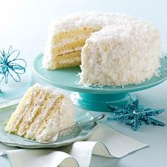 Pineapple Coconut Cake Recipe -This coconut cake is a guaranteed showstopper at any holiday meal or special occasion. The beautiful flakes of coconut are reminiscent of snow. But one taste of the sunny pineapple will transport you to the tropics. —Monica Kennedy, Johnson City, Tennessee