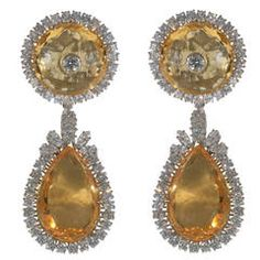 Citrine Diamond Gold Eardrops