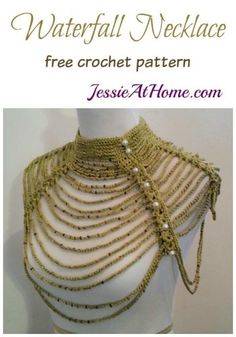 The Waterfall Necklace was on my mind for many years before I designed it. I once made a dress with a similar neck in beads, here's the crochet version! Crochet Necklace Pattern, Bead Crochet, Free Crochet, Crochet Geek, Crochet Rope, Unique Crochet, Easy Crochet Patterns, Easy Patterns, Interweave Crochet