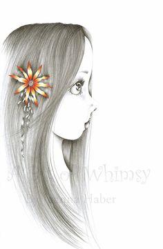 She's Pure an original drawing fantasy fine art by ABitofWhimsyArt, $80.00