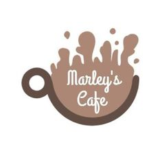 Edit this really cool template for a coffee logo. A simple background with brown text displaying 'Marley's cafe' and an illustration of a coffee cup. Coffee Logo, Coffee Cafe, Marley Coffee, Cup Logo, Simple Backgrounds, Logo Templates, Cool Stuff, Brown, Creative