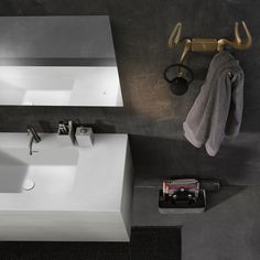 Rock any bathroom with minimalist 51 furniture collection. Frameless LED mirror and wall-mount vanity with blu•stone™ integrated sink and INOX stainless steel faucets  #minimal #design #bathroom #mirror #design #vanity #decor #interior #interiordesign #homestyle #rusticdecor #luxury #lifestyle