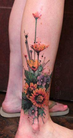 sunflower leg tattoo - 45 Inspirational Sunflower Tattoos  <3 <3