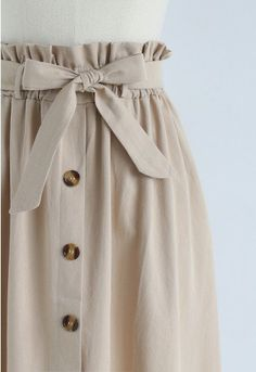 Truly Essential A-Line Midi Skirt in Tan - Retro, Indie and Unique Fashion