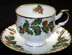 """Yuletide"" cup and saucer by Rosina.  I've found 5 different styles so far.  What is your favorite?"
