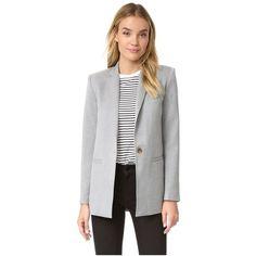 LAVEER Boyfriend Blazer ($495) ❤ liked on Polyvore featuring outerwear, jackets, blazers, grey, grey blazer jacket, gray jacket, gray blazer, grey boyfriend blazer and padded jacket