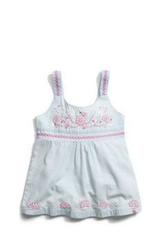 Lucky Brand  Embroidered Chambray Tank Girls 7-16