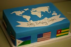 World map. Cake for Stephens 33rd birthday!
