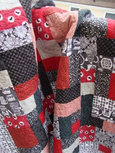 Lap Quilt Black White Grey and Red Novelty by MaryMackMadeMine