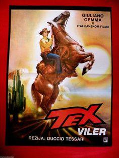 TEX WILLER 1986 WESTERN GIULIANO GEMMA DUCCIO TESSARI MEGA RARE XYU MOVIE POSTER