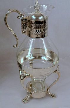 Leonard Silver Plate10 Cup Glass Carafe Coffee Tea Candle Warmer ...