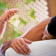 Happiness is a bamboo massage in St. Kitts!