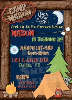 5 X 7 Printable Camping Birthday Party Invitation - Sleepover Invitation - Camping themed birthday