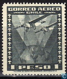Stamps - Chile - Airplane over globe