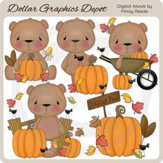 Fall Bears 3 Clip Art, by Primsy Resale - Only $1.00 at www.DollarGraphicsDepot.com : Great for printable crafts, web graphics, scrapbook pages, autumn greeting cards, gift boxes / bags, gift tags / labels, autumn window decals, popcorn boxes, hot cocoa / apple cider packets, bag toppers, candy bar wrappers, embroidery patterns, and much more!