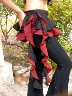 Gypsy Ruffled Mini Short Skirt / Cotton Tutu - Black x Maroon - Steampunk, Belly Dance, Fairy, Faery, Fantasy, Lolita, Goth on Etsy, $41.74