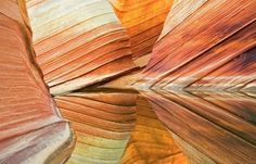 NATURE ILLUSION  This depth-perception-shattering formation (known as The Wave, in the Coyote Buttes of Vermilion Cliffs National Monument) in Arizona, is the product of layers of sedimentary rock unevenly eroded away over millions of years.