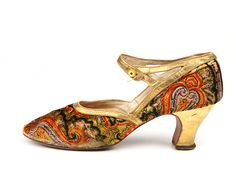 Velvet Paisley pattern shoes with a buttoned strap. France. c. 1925-28