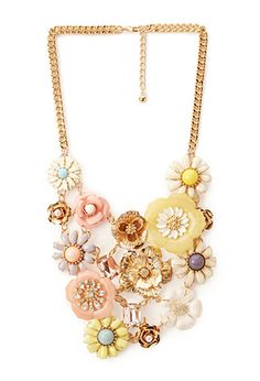Mixed Media Floral Necklace | FOREVER 21 - 1000124660