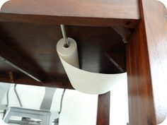 Tension rod under kitchen table to hold a roll of paper, to pull up and over for the kids to draw on!! Great Idea!