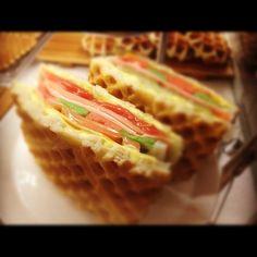Kimchi Waffle Sandwich in Seoul Korea